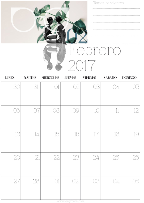 calendario Febrero mumu